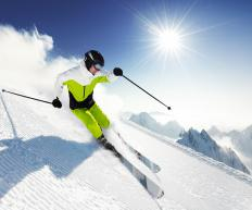 Alpine skiing involves skiing down mountains and hills.