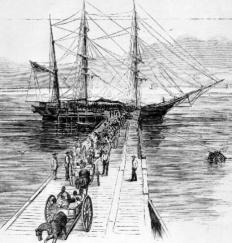 African slaves were exchanged in the Americas for the raw materials that were used to make the European goods that were sold in Africa.