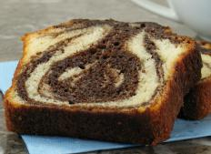 Marble cake is a variant of pound cake with the distinctive loaf shape.