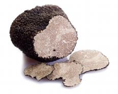 A sliced black truffle.