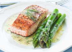 Grilled salmon with vegetables is a healthy meal choice.