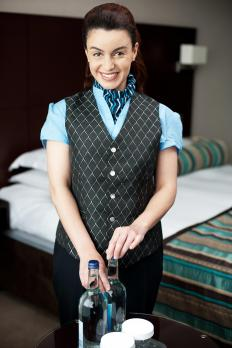 A room attendant is responsible for keeping hotel room mini bars stocked.
