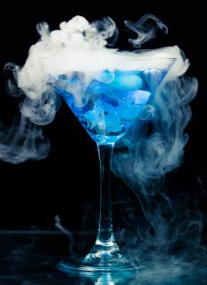 When exposed to air, dry ice immediately begins to give off a smoky carbon dioxide gas.