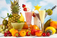 Smoothies are created using a variety of fruits, juices, and ice.