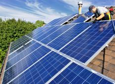 Solar air conditioning can be powered with photovoltaic panels, which are often found  on roofs.
