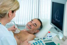 A bubble echocardiogram procedure is performed with an ultrasound machine.