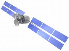Satellite antennas are used to receive transmissions for communications satellites.