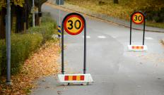 The driving theory test may include questions about road signs.