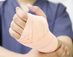 Tensor bandages -- commonly called Ace bandages -- have elastic and are typically used to treat light muscle strains.