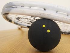 Shatter-proof glasses are recommended for racket sports such as squash.