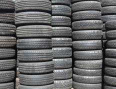 Stacks of tires waiting to be recycled.