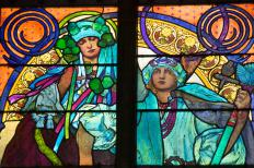 A glazier may be responsible for fitting stained glass windows.