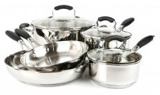 Stainless steel pots and pans, including a skillet.