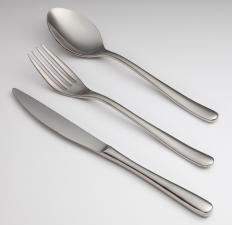 Forged stainless steel flatware maintains its smooth surface, unlike cheaper-quality flatware that develops pits that trap bacteria.