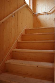 The size of stair risers vary depending on the amount of space available.