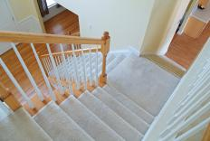 Padding glue may be used to install carpet on stairs.