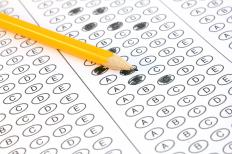 A typical answer sheet for a multiple choice standardized test, such as those required to earn PTCB certification.