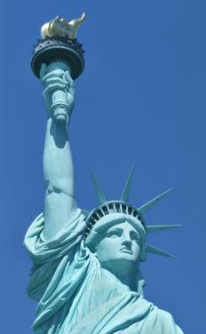 The Statue of Liberty wears a stola.