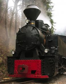 Steam engines -- a type of external combustion engine -- are powered by the force of high-pressure steam.