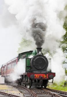 Steam-powered trains were a popular form of transportation during the 1800s.