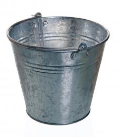 A galvanized metal bucket.