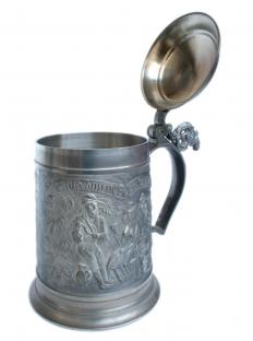 A stein is a lidded mug specifically designed to hold beer.