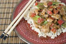 Chicken and cashew stir-fry seasoned with pungent, salty black bean paste.
