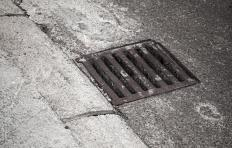 A catch basin keeps large debris from entering the sewer system.