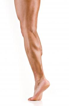 A person with defined calf muscles.