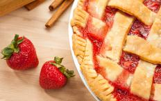 Strawberry jam is a popular option for jam tarts.