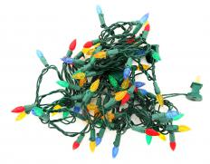 A tangled string of Christmas lights.