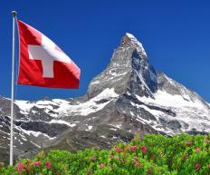 The Swiss flag with the Matterhorn in the background.