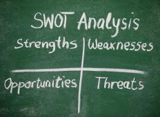 A SWOT analysis can be used to examine a school's strengths, weaknesses, opportunities, and threats.