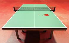 Table tennis table, with competition level flooring.