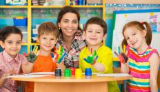 Early childhood educators organize arts and crafts activities appropriate for young children.