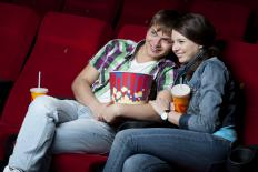 Teenagers in a movie theater.