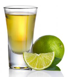 Tequila shots are often served with lime.