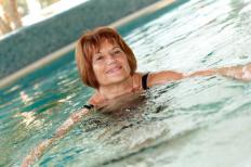 Aquatic therapy exercises can be done standing in deep or shallow water.