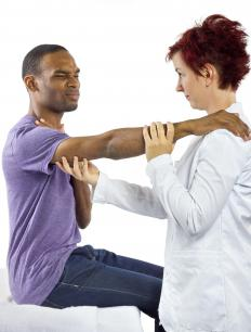 Occupational therapists may help injured patients improve muscle strength.