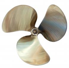 A larger propeller will provide more power, but less speed.