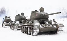 The tanks used by the Soviet Union during the Cold War, including the T-54 and T-64, were developed from the T-34s used during World War II.