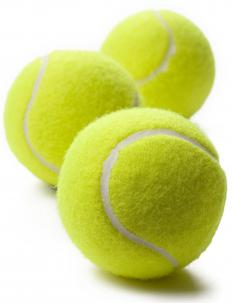 A tennis ball hopper makes it easier to pick up stray tennis balls.