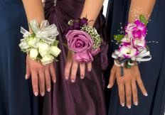 Wrist corsages actually do not require pins, and are simply worn on the wrist like a watch or bracelet.