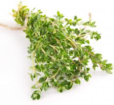 Four to five sprigs cut from a thyme bush may constitute one bunch of thyme.
