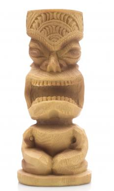Tiki carvings are a common decoration at tiki bars.