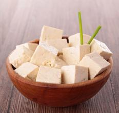A bowl of tofu.
