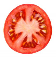 Sliced tomatoes are an ingredient in donair.