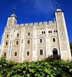 The Crown Jewels, which include several scepters, are on display at the Tower of London in Britain.