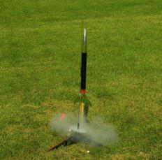 A rocket launcher propels a rocket from one point to another.