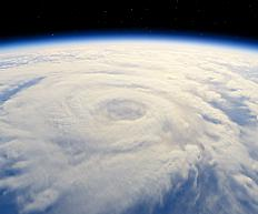 Tropical storm viewed from space.